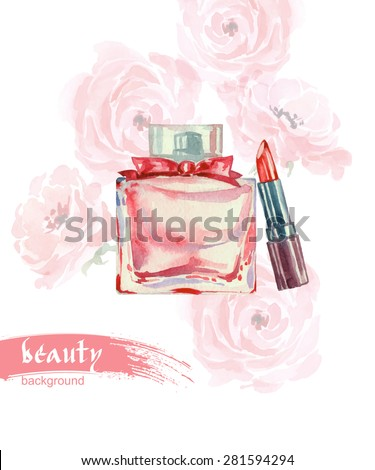 Beautiful perfume bottle. Hand drawn Watercolor vector illustration. - stock vector