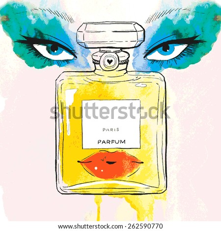 Beautiful perfume portrait - stock vector