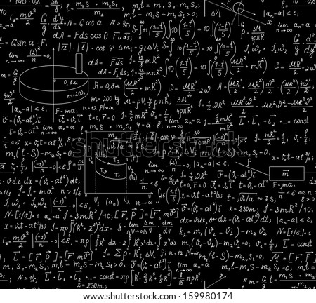 Beautiful physical seamless pattern with equations, plots and other calculations. You can use any color of background. - stock vector