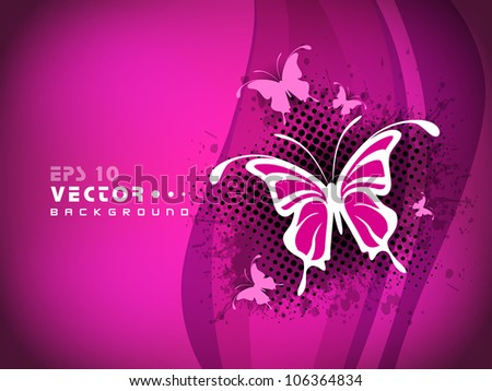 Beautiful pink abstract background with butterfly. EPS 10. - stock vector