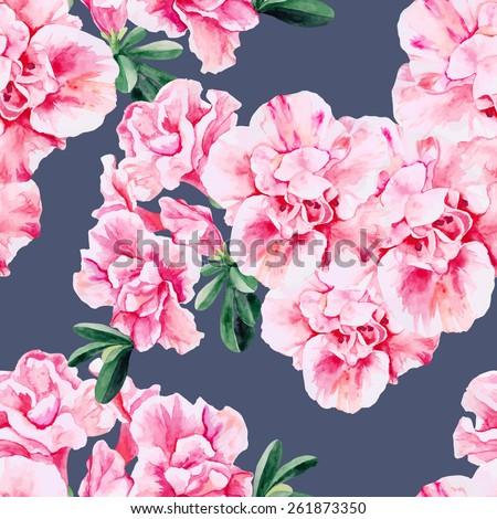Beautiful pink Azalea seamless watercolor pattern - stock vector