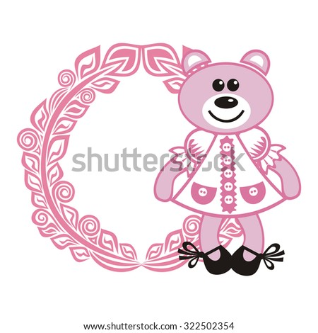 Beautiful pink bear and floral nature pattern card vector illustration