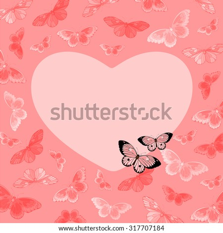 Beautiful pink card with butterflies and heart-shaped place for your text or photo - stock vector