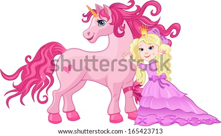 Beautiful pink fairy Princess embrace Unicorn