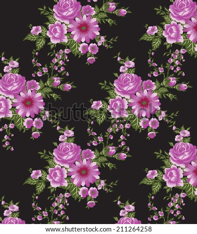 beautiful pink flowers floral seamless pattern small pink lily stock vector 702816805