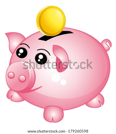 Beautiful pink piggy bank with one coin. Money concept. vector icon. - stock vector