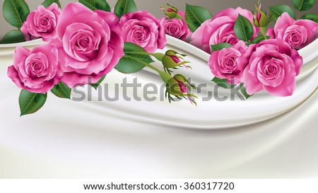 Beautiful Pink Rose with Ivory Fabric Background for Valentine Day Season and Wedding Celebration. Vector, Illustration.