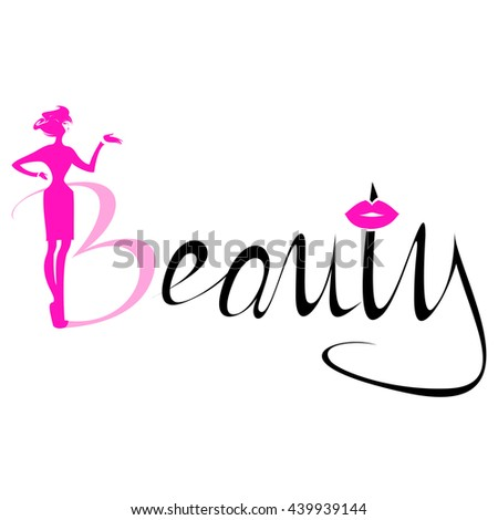 Beautiful pink silhouette woman Beauty Logo, symbol, icon, sign for salon, spa salon, firm company or center on colorful background. Vector illustration - stock vector