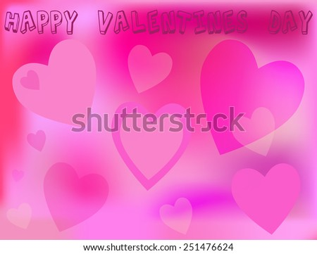 Beautiful pink Valentine background with hearts - stock vector