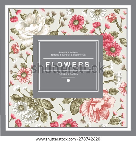 Beautiful pink white realistic isolated flowers. Vintage Greeting Card Blooming Flowers. Place Your Text frame. Peonies, chamomile, Wildflowers, Wallpaper baroque Vector victorian style Illustration. - stock vector