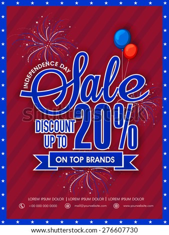 Beautiful poster, banner or flyer for top brands Sale with 20% discount for American Independence Day celebration. - stock vector