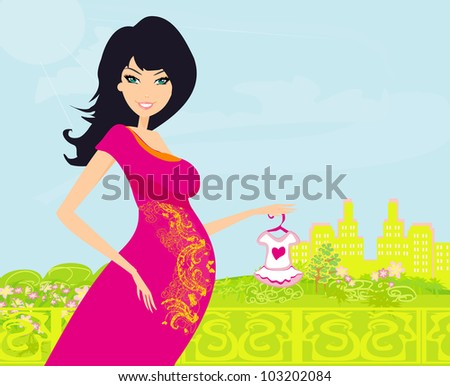 Beautiful pregnant woman on shopping for her new baby Vector Illustration - stock vector