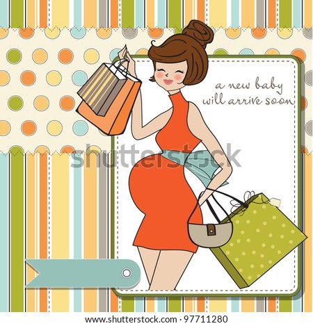 Beautiful pregnant woman on shopping for her new baby. Vector Illustration. - stock vector