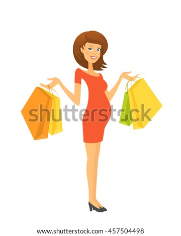 Beautiful pregnant woman with shopping bags - stock vector