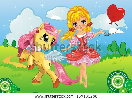 Beautiful princess and her horse
