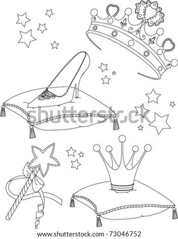 Beautiful princess Collectibles coloring page - stock vector