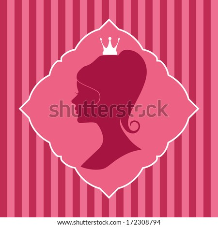 Beautiful princess silhouette in elegant frame on striped background. - stock vector