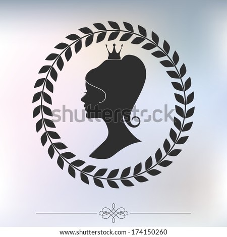 Beautiful princess silhouette in elegant laurel frame on blurred soft background.  - stock vector