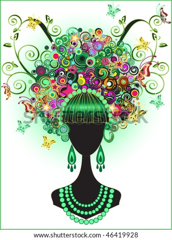 Beautiful Princess silhouette with accessories and butterflies - stock vector