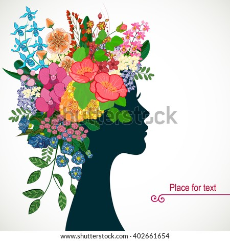 Beautiful profile young woman with tropicl flowers in heir hair. Vector illustration greeting card beauty and fashion.  - stock vector