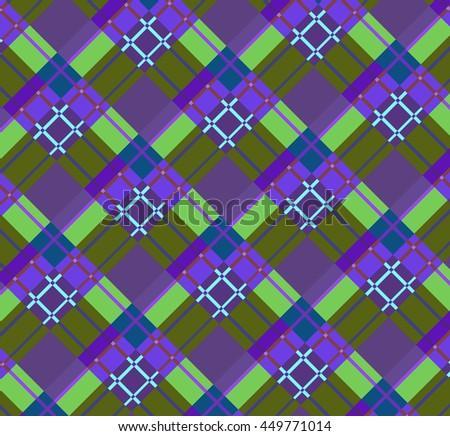 Beautiful purple and green diagonal plaid fabric. Vector illustration. - stock vector