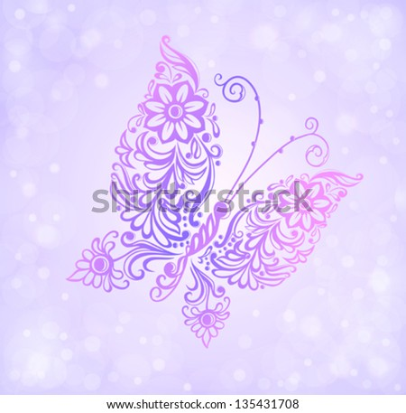 Beautiful purple butterfly flying against the brilliance and bokeh. Many similarities to the author's profile - stock vector