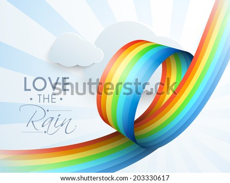 Beautiful rainbow colors stripe on blue clouds background, creative monsoon season background.