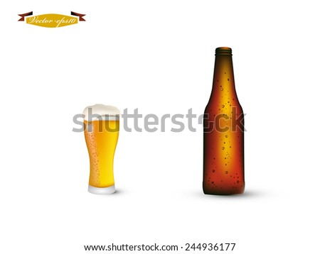beautiful realistic graphic design vector of bottle and glass of beer with condensed water