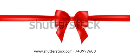 Beautiful realistic isolated red ribbon bow VECTOR