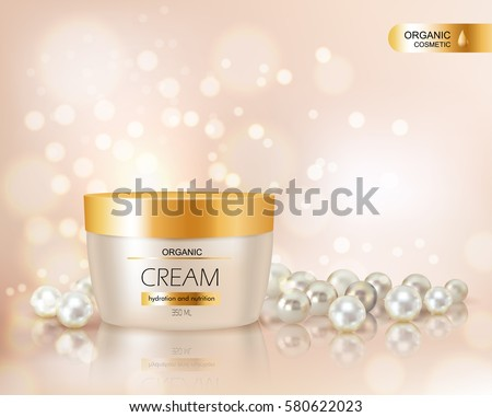 Beautiful realistic vector illustration for advertisement of organic cosmetic series with face cream container and pearls
