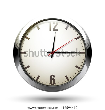 Beautiful realistic vector illustration of shiny chrome clock isolated on white background - stock vector