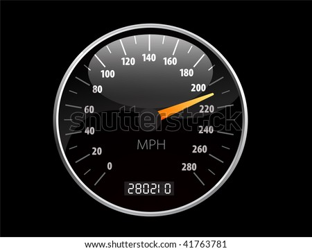 Beautiful realistic vector speedometer ilustration - stock vector