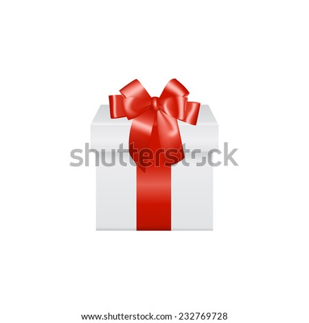 Beautiful realistic white gift box with red ribbon bow, isolated on white