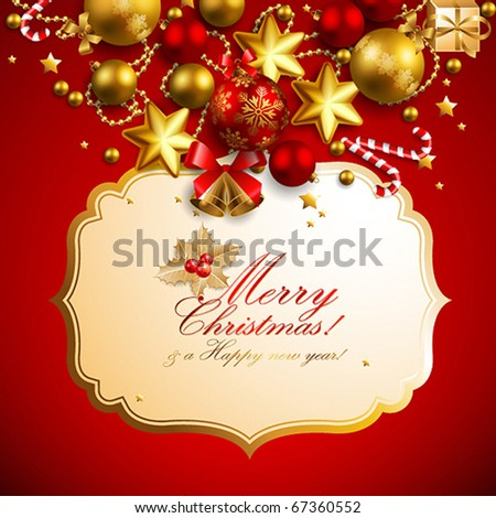 beautiful red and golden christmas background - stock vector
