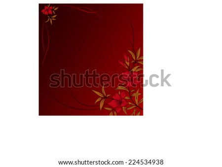 Beautiful red background with flowers - stock vector