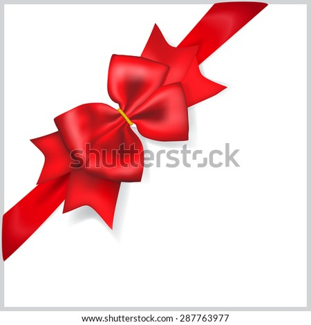 Beautiful red bow with diagonally ribbon