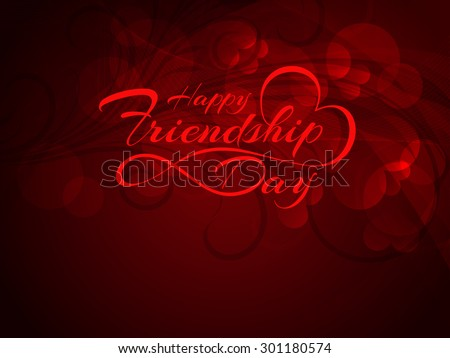 Beautiful red color Happy Friendship Day vector background design. - stock vector