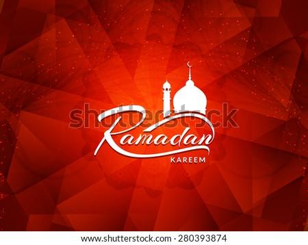 Beautiful red color Ramadan Kareem background design. - stock vector