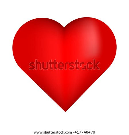 Beautiful red 3D heart. Red bright and shiny heart isolated on white background with reflection. - stock vector