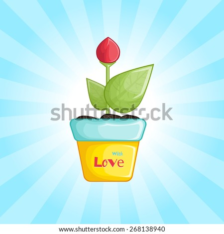 Beautiful red flower in the pot. Red tulip - stock vector