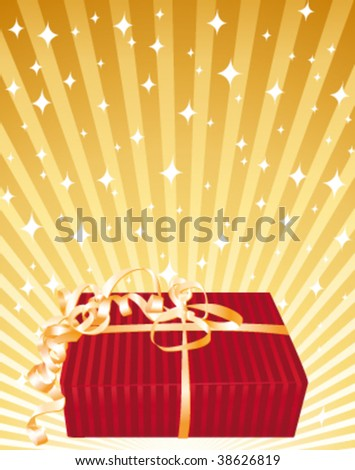 Beautiful red gift on a golden bright background. Vector illustration.