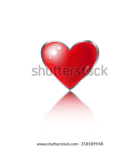 Beautiful red glossy heart shape. EPS10 vector.