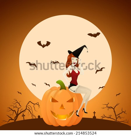 Beautiful red-haired PinUp witch on pumpkin at the background of the cemetery