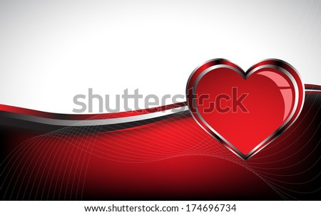 Beautiful red heart background. Clip-art - stock vector