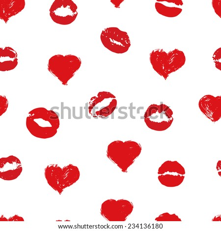 Beautiful red hearts and kisses. Seamless background. Vector - stock vector