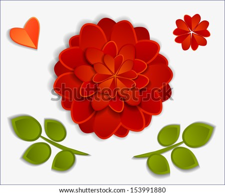 beautiful red paper flowers and heart with shadows isolated on white background - stock vector