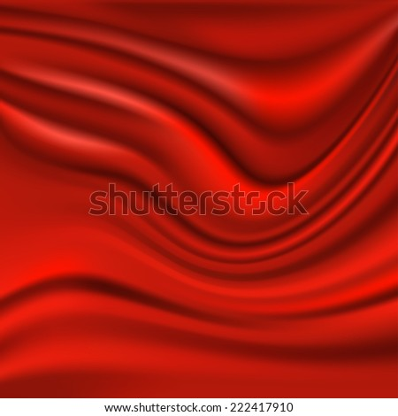 Beautiful Red Silk. Drapery Textile Background, Vector Illustration - stock vector