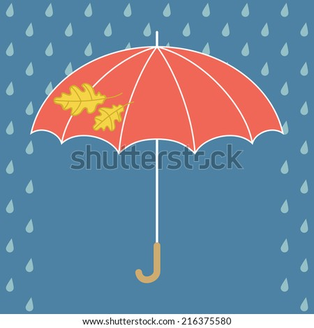Beautiful red umbrella with yellow oak leaves and rain. Vector illustration