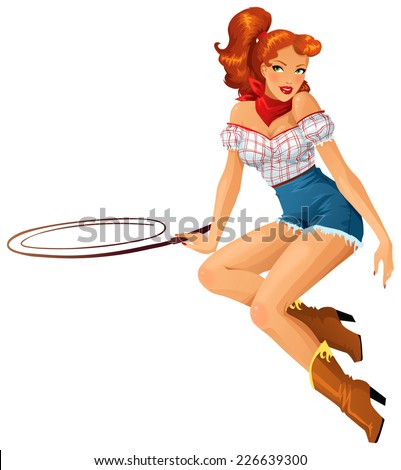 Beautiful redhead cowgirl - stock vector
