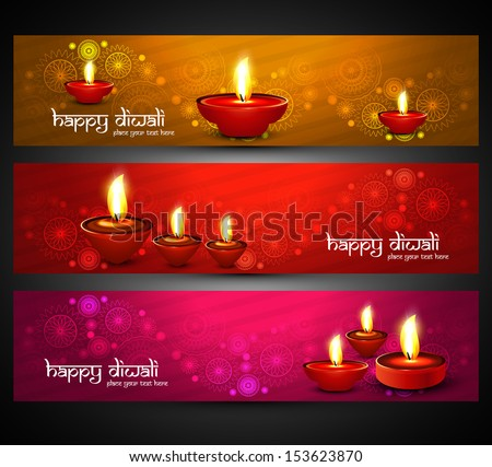 Beautiful religious bright colorful happy diwali headers set vector - stock vector